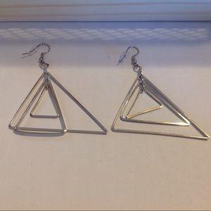 Silver Tone Triple Triangle Earrings